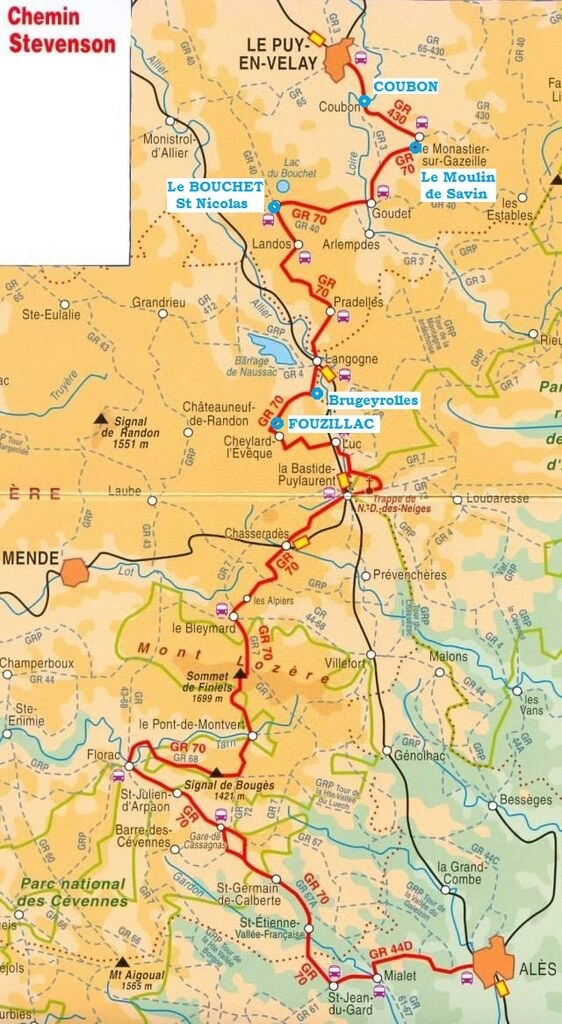 L'itinéraire du GR70 - Chemin de Stevenson